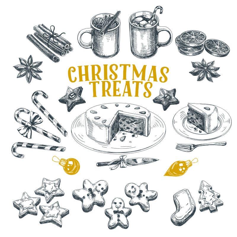 Schöne gezeichnete Illustrationen Weihnachten des Vektors Hand eingestellt lizenzfreie abbildung