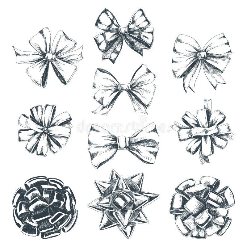 Schöne gezeichnete Illustrationen Weihnachten des Vektors Hand eingestellt stock abbildung