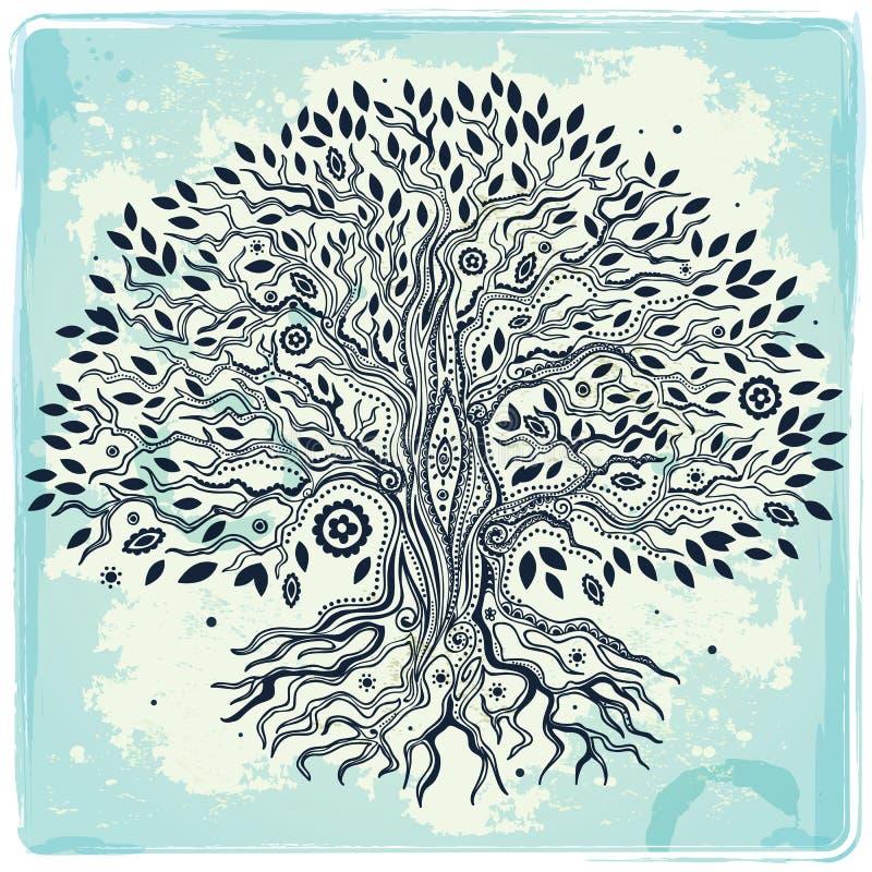 Schöne gezeichneter Baum der Weinlese Hand des Lebens stock abbildung
