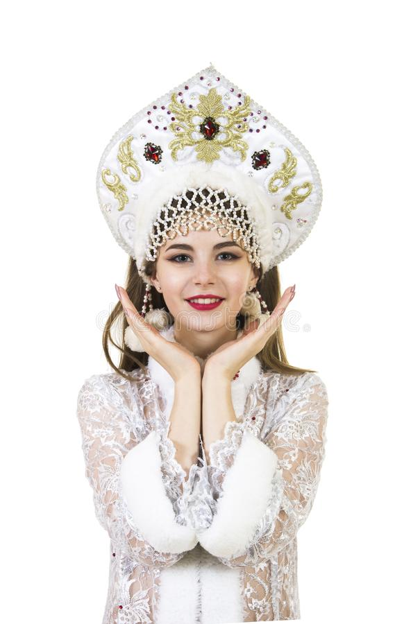 Schöne, glückliche, emotionale junge Frau mit dem langen Haar, gekleidet wie Santa Claus-Lächeln Weihnachten-neuer Jahrkarneval G stockbilder
