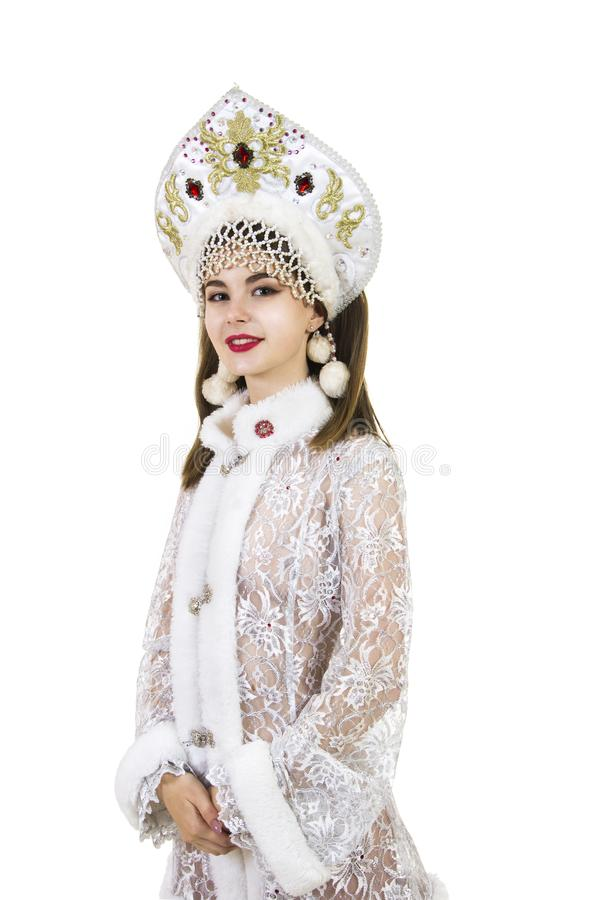 Schöne, glückliche, emotionale junge Frau mit dem langen Haar, gekleidet wie Santa Claus-Lächeln Weihnachten-neuer Jahrkarneval G lizenzfreie stockfotos