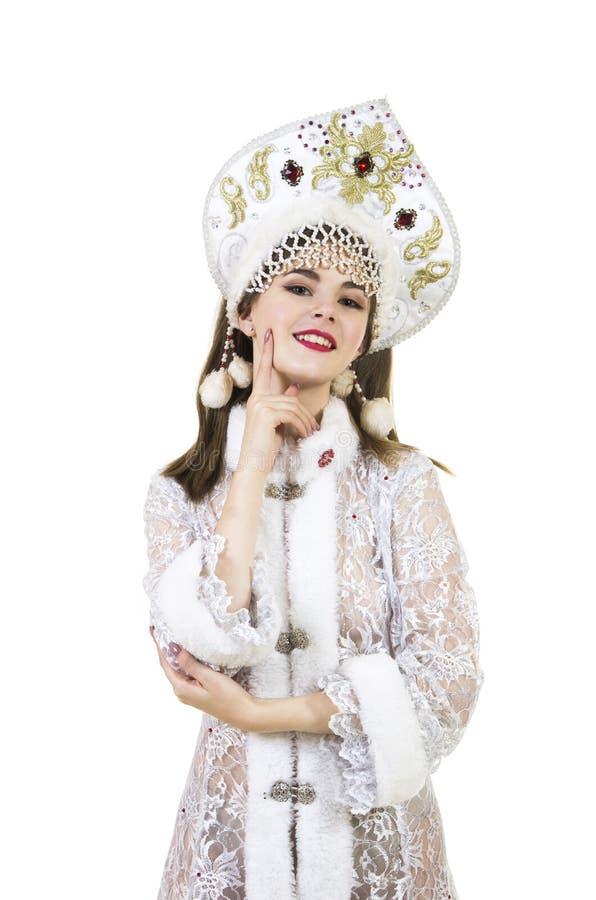 Schöne, glückliche, emotionale junge Frau mit dem langen Haar, gekleidet wie Santa Claus-Lächeln Weihnachten-neuer Jahrkarneval G stockfotos