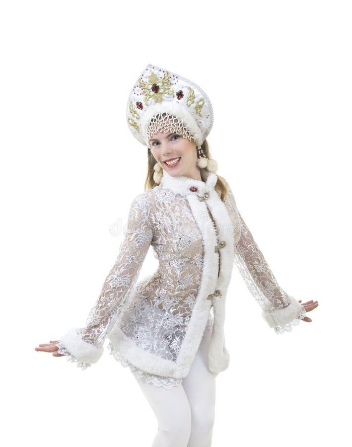 Schöne, glückliche Frau mit dem langen Haar, gekleidet als Santa Claus-Lächeln Weihnachten - Karneval des neuen Jahres stockfotografie