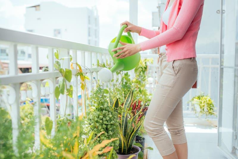 Schöne glückliche junge Hausfrau, welche zu Hause die Blume wässert lizenzfreie stockfotos