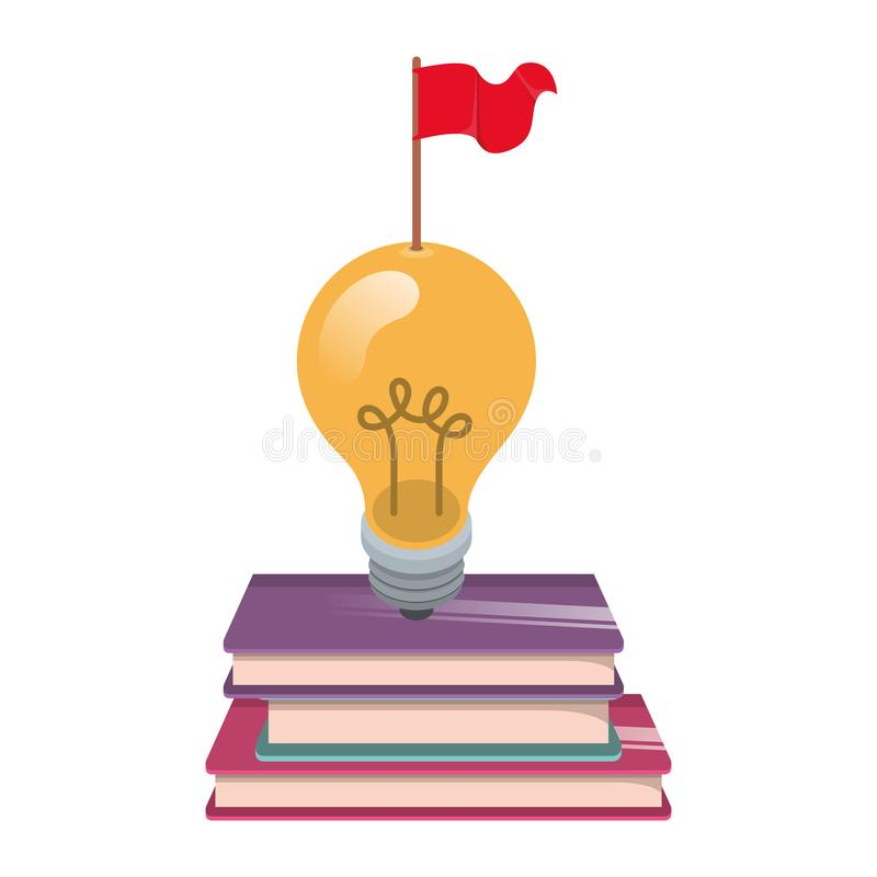 Schöne Glühlampe mit Bücher lokalisierter Ikone lizenzfreie abbildung