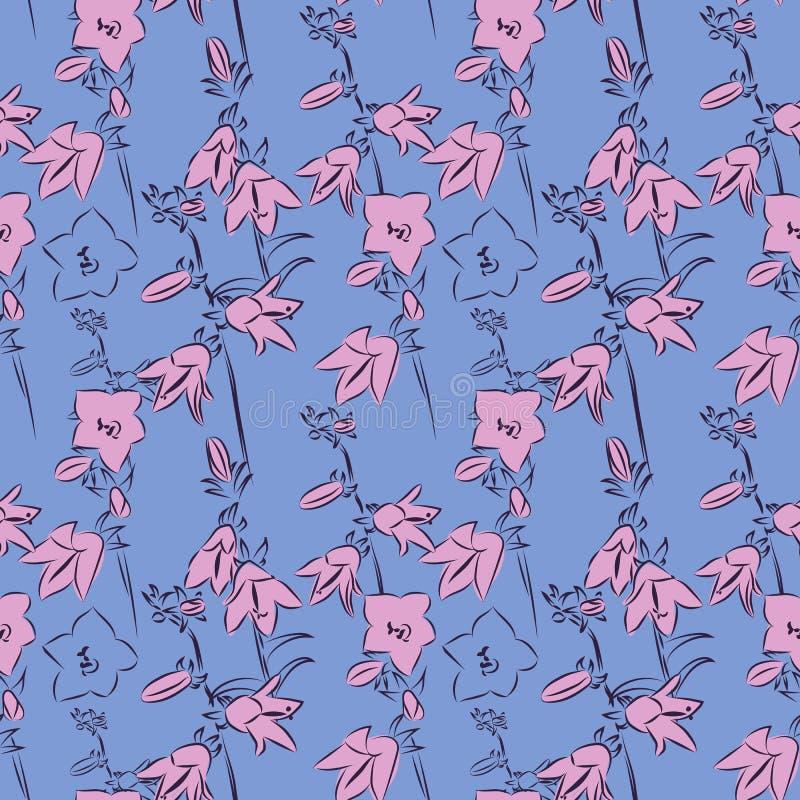 Schöne Glockenblumen auf blauem Hintergrund, Vektorillustration, nahtloses Muster stock abbildung