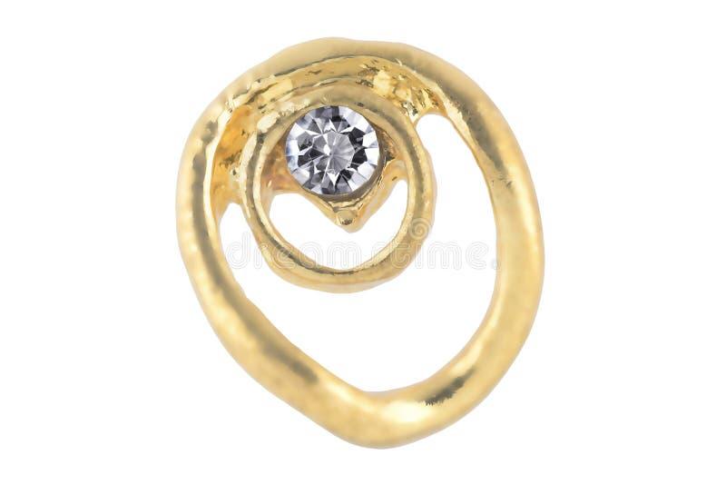 Schöne goldene abstrakt-förmige Ohrringe mit einem Diamanten, lokalisiert auf weißem Hintergrund, Beschneidungspfad schlossen ein lizenzfreie stockbilder