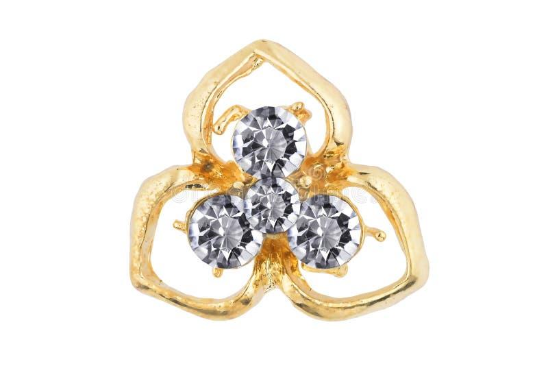 Schöne goldene abstrakt-förmige Ohrringe mit vier Diamanten in der Mitte, lokalisiert auf weißem Hintergrund, Beschneidungspfad s lizenzfreie stockfotos
