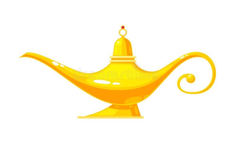 Schöne goldene realistische Wunderlampe Erfüllung von Wünschen, Ostkultur stock abbildung