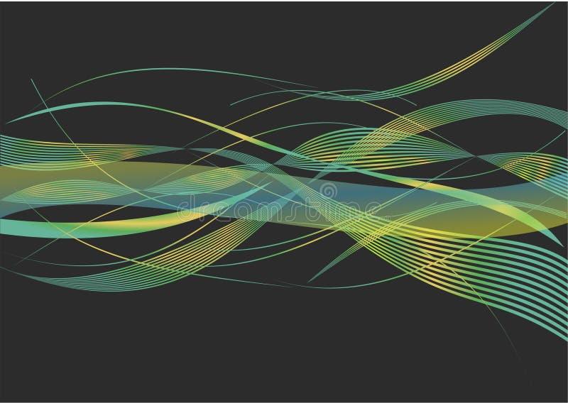 Schöne grüne und gelbe Kombination bewegt in schwarzen Hintergrund wellenartig stockfoto