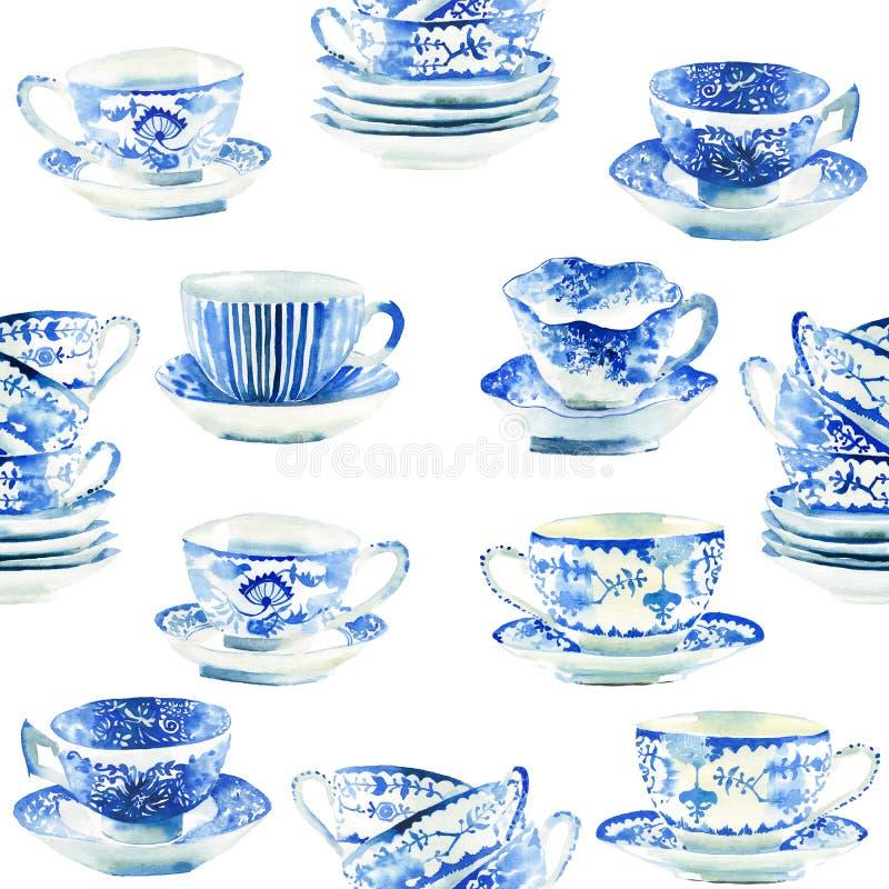 Schöne grafische reizende künstlerische zarte wunderbare blaue Porzellanporzellan-Teeschalen kopieren Aquarell stock abbildung