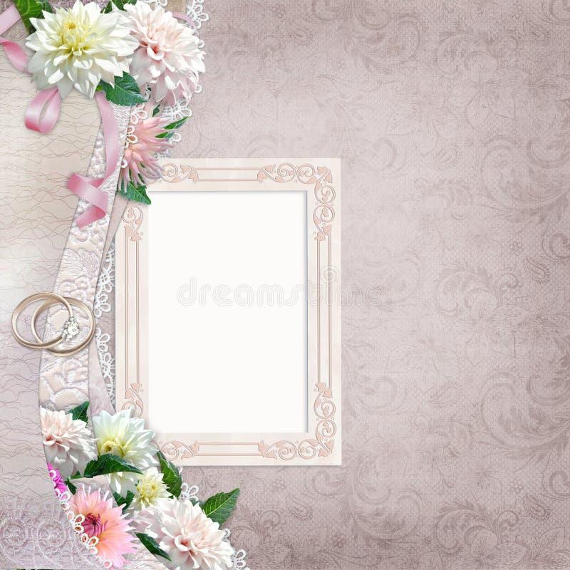Schöne Grenze mit Blumen, Rahmen und Eheringen auf einem Weinlesehintergrund stock abbildung