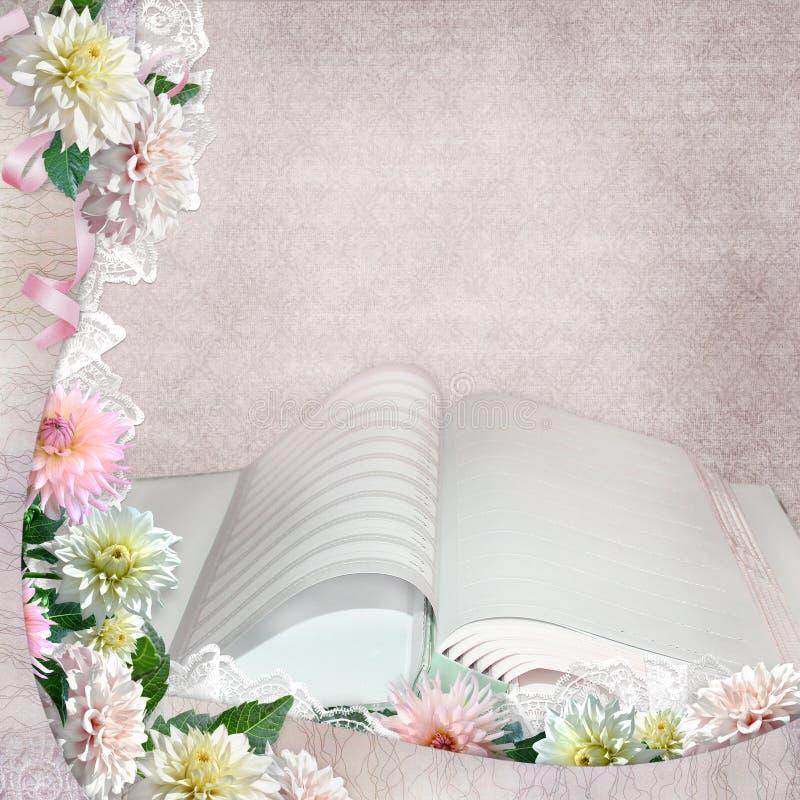 Schöne Grenzen mit Blumen und offenes Album auf dem Weinlesehintergrund stock abbildung