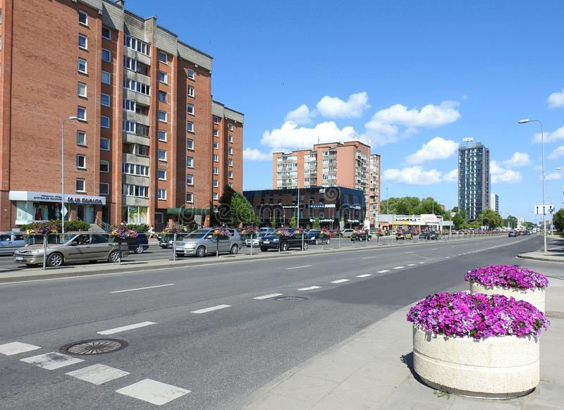 Schöne große Häuser in Klaipeda-Stadt, Litauen stockbilder