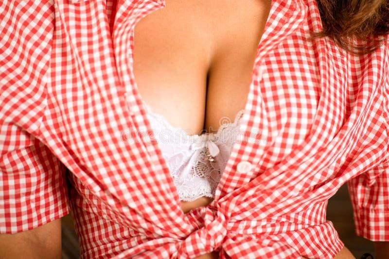 Schöne große weibliche Brüste im BH Frauenbrust, Nahaufnahme Plastikkorrektur- und Chirurgiekonzept Körperteile des großen Busens lizenzfreie stockfotografie