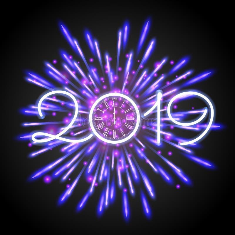 Schöne Grußkarte 2019 des neuen Jahres mit purpurroten funkelnden Feuerwerken und einer Uhr stock abbildung