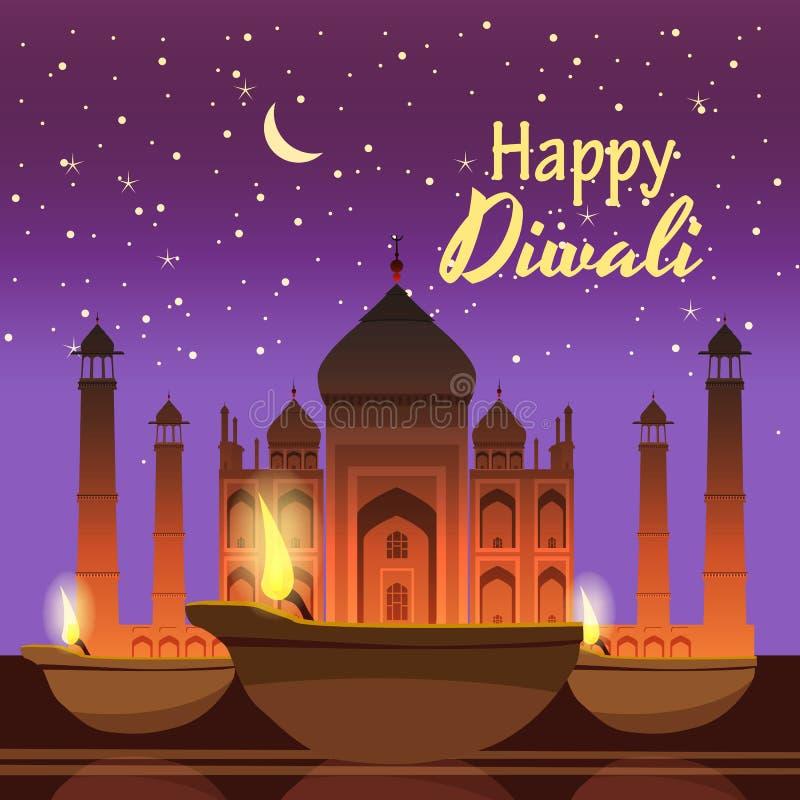 Schöne Grußkarte für Feiertag diwali mit dem Brennen diy, Hintergrund Taj Mahal, Nacht, Karikaturart, Vektor stock abbildung