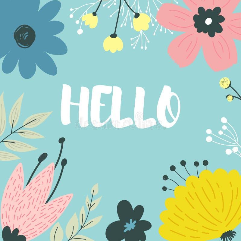 Schöne Grußkarte mit Blumen stock abbildung