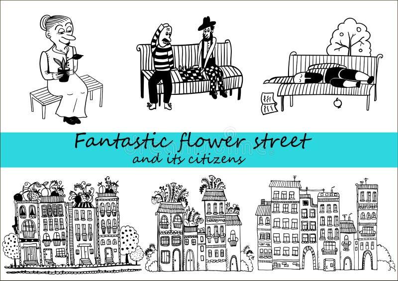 Schöne Häuser im Stil des Gekritzels und ihre Pächter stellten von der komischen Illustration des Charakters ein stock abbildung