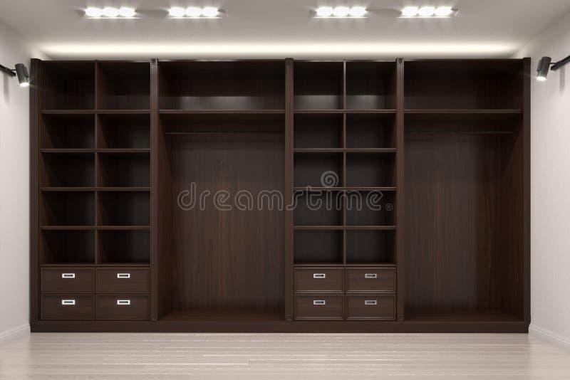 Schöne hölzerne horizontale Garderobe und Weg im Wandschrank lizenzfreie abbildung