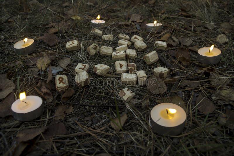 Schöne Halloween-Zusammensetzung mit Runen, dem Schädel, Tarock und Kerzen auf dem Gras im dunklen Herbstwaldritual stockfotografie