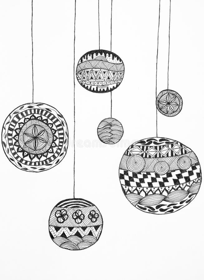 sch ne hand gezeichnete weihnachtskugeln stock abbildung illustration von invite fashion. Black Bedroom Furniture Sets. Home Design Ideas