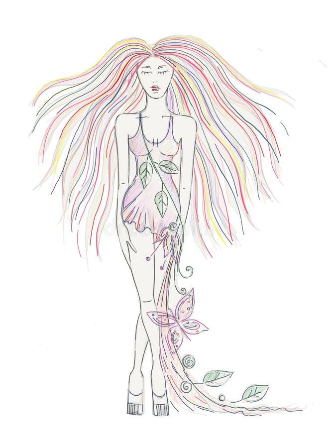 Schöne Hand gezeichnetes künstlerisches Mädchen mit dem langen Haar, Kleid mit Blumen, Blätter, Schmetterling Kreatives künstleri lizenzfreie abbildung