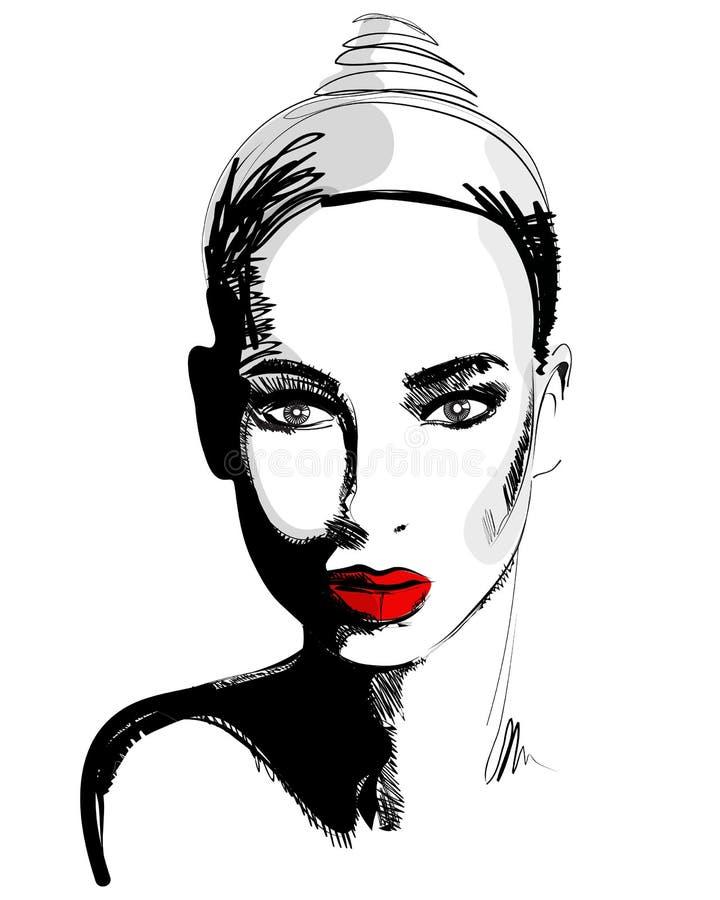 Schöne Hand gezeichnetes Portrait der eleganten Frau der Art vektor abbildung