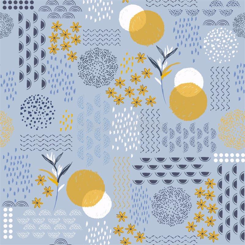 Schöne Handgezogene kreative künstlerische moderne Linie skecth und Schattenbildblumenformentwurf für Mode, Gewebe, Netz, Tapete, lizenzfreie abbildung