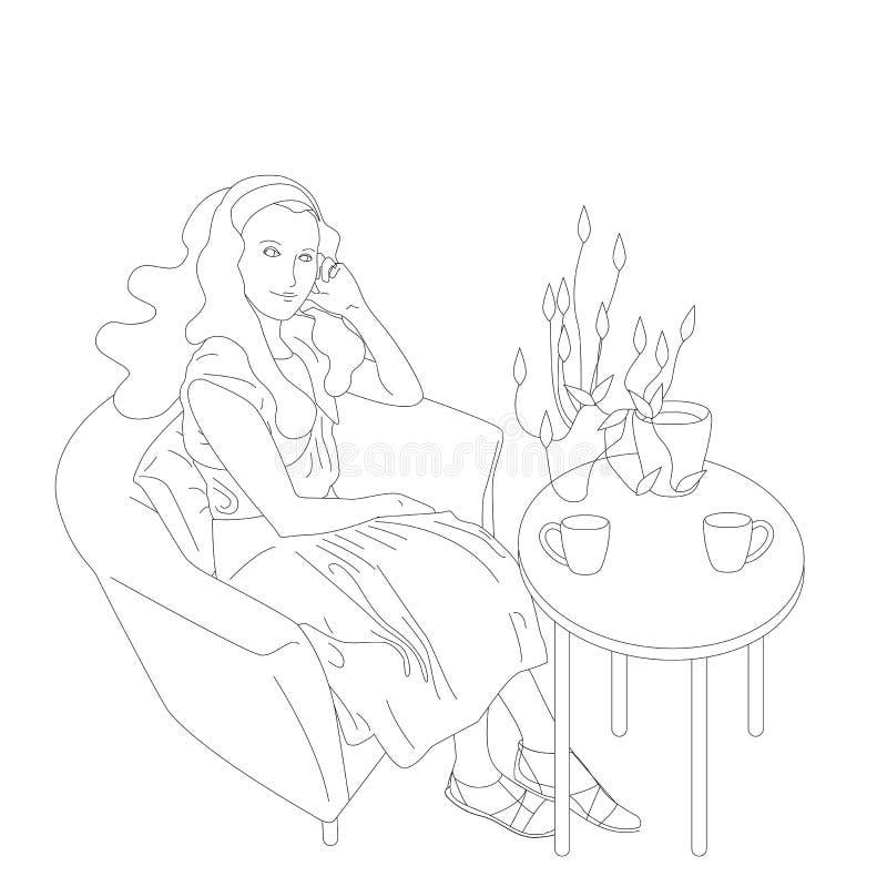 Schöne Handsitzt gezogenes flaches Artmädchen mit dem langen Haar im Café mit einem kleinen Hund auf ihrem Schoss vektor abbildung