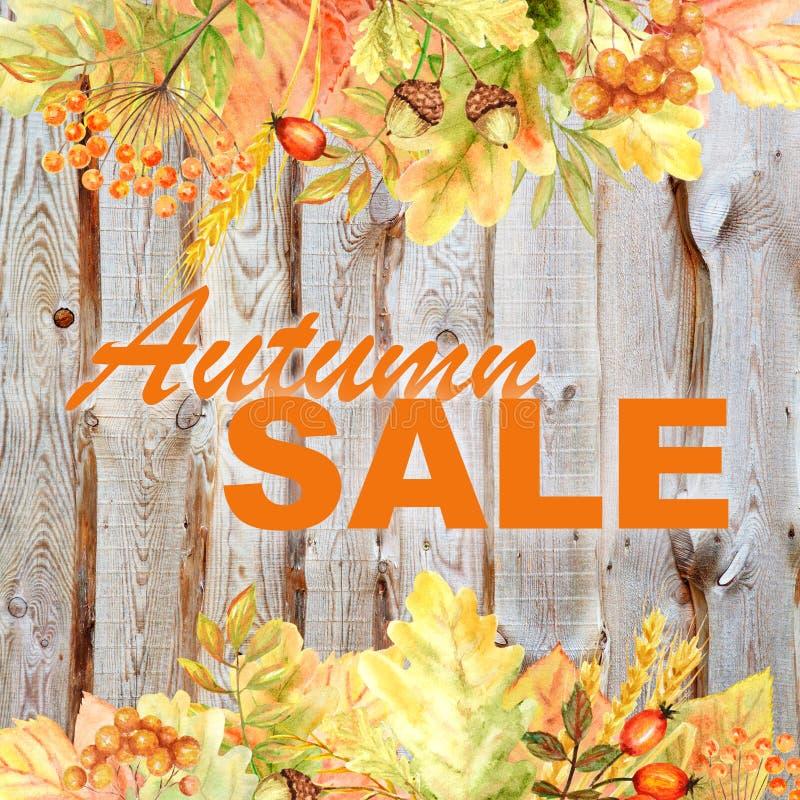 Schöne helle Autumn Sale-Fahne Herbstfarbwald lässt Feld auf hölzernem Hintergrund Aquarellherbst-Blatthand stockfoto