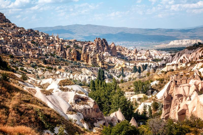 Schöne helle Landschaft Cappadocia in zentralem Anatolien ist ein U stockbilder
