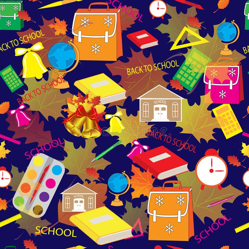Schöne helle Schulnahtloses Muster auf blauem Hintergrund lizenzfreie abbildung