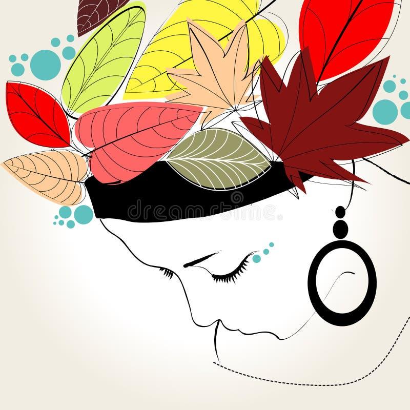 Schöne Herbstfrau stock abbildung