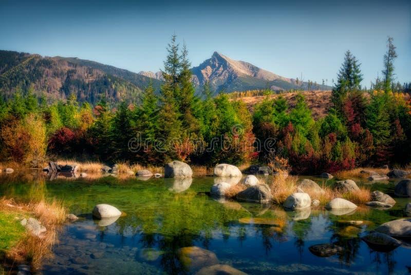 Schöne Herbstlandschaft mit Bergspitze und einem See, Krivan, Slowakei stockfotos