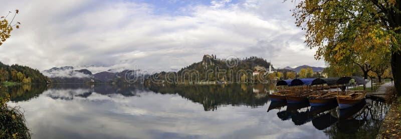 Schöne Herbstlandschaft um den See geblutet mit St Martin Gemeindekirche und -schiffe, Schloss und Insel lizenzfreies stockfoto