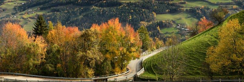Schöne Herbstszene nahe Villandro-Dorf Trentino die Alt-Etsch, Bozen, Italien stockfotografie