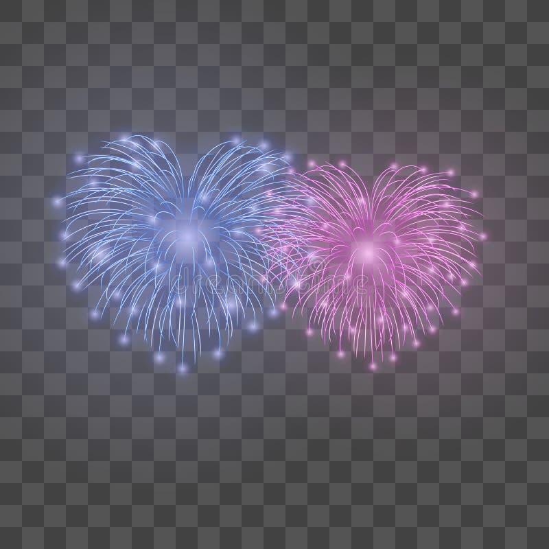 Schöne HerzFeuerwerke eingestellt Helles romantisches lokalisierter transparenter Hintergrund der Paare Feuerwerk Liebesdekoratio stock abbildung