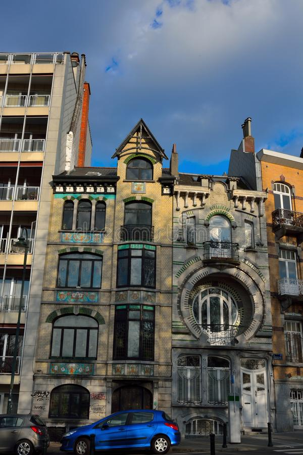 Schöne historische Häuser in Brüssel stockbilder