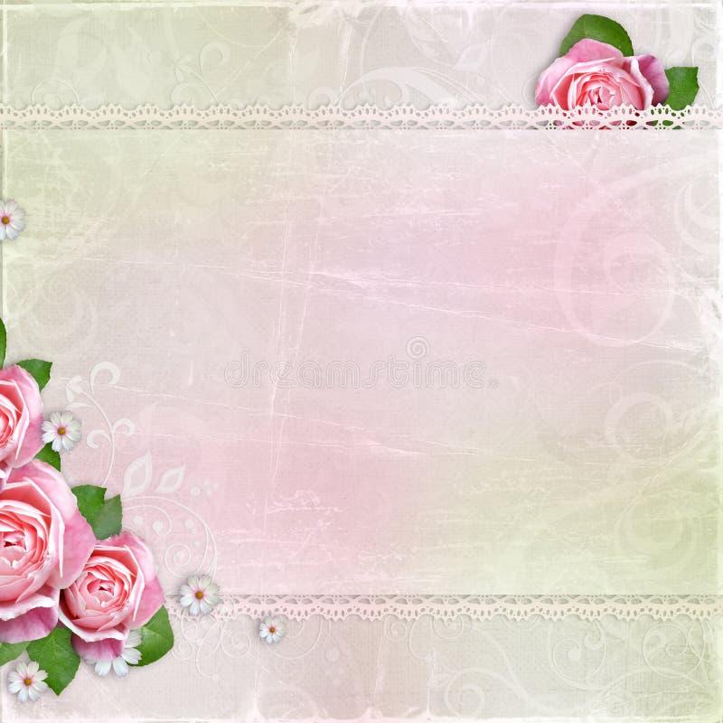 Schöne Hochzeit, Feiertagshintergrund mit Rosen lizenzfreie stockfotos