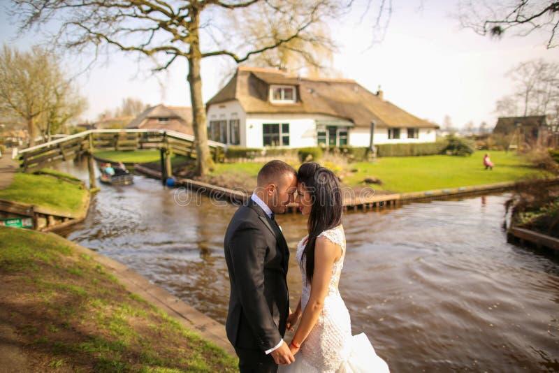 Schöne Hochzeitspaare, die nahe Fluss aufwerfen stockfotografie