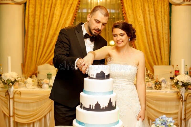 Schöne Hochzeitspaare, welche die Hochzeitstorte schneiden lizenzfreie stockfotos