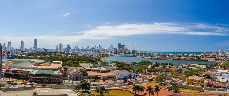 Schöne hohe Winkelsicht von Cartagena, Kolumbien stockfotografie