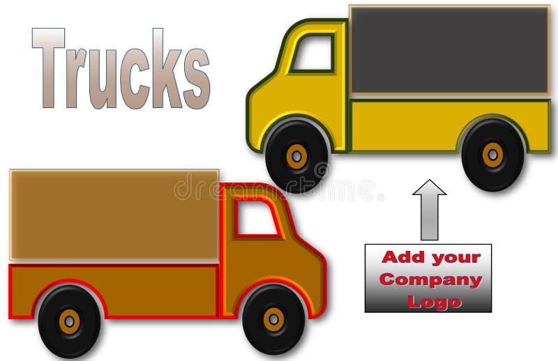 Schöne Illustration von LKWs mit Raum für Logo und Anzeige lizenzfreie abbildung