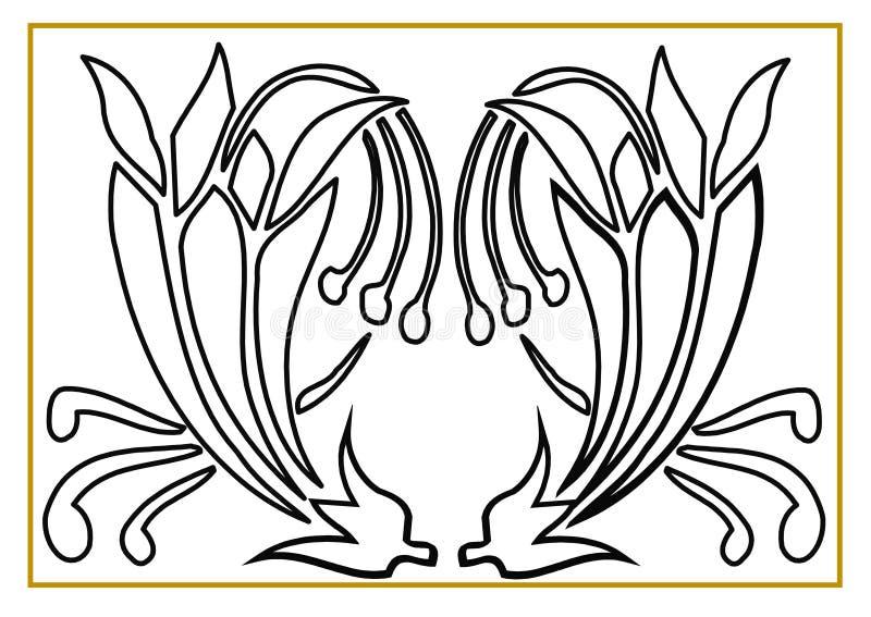 Schöne Illustration von zwei Rosen, die gefärbt werden können stock abbildung