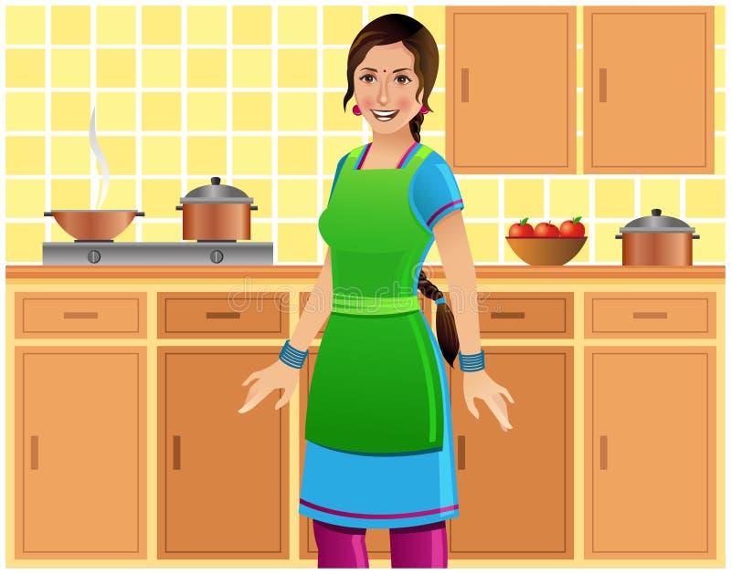 Schöne indische Frau in der Küche vektor abbildung