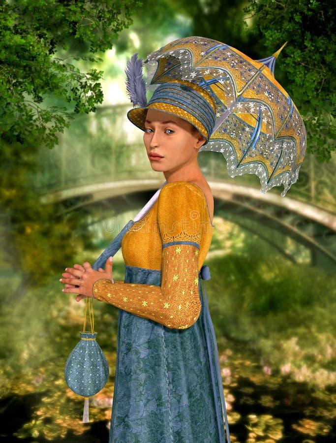 Schöne Jane Austen-Artfrau, die durch einen Park schlendert lizenzfreie abbildung