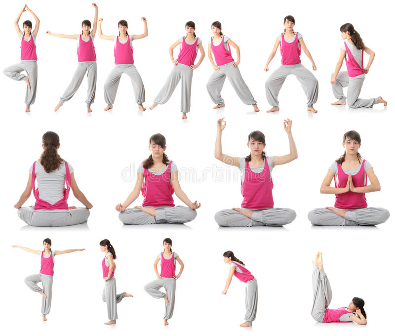Schöne Jugendlich Frau, Die Yogaübung Tut Stockfotos