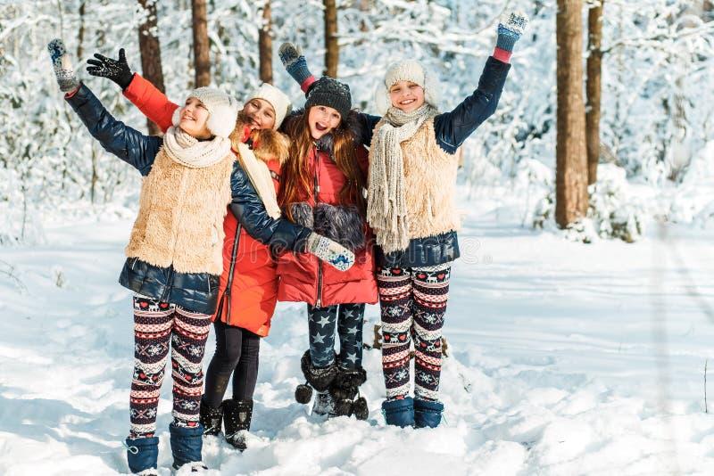 Schöne Jugendlichen, die Spaßaußenseite in einem Holz mit Schnee im Winter haben Freundschaft und Berufslebenkonzept stockfotografie
