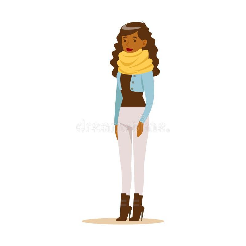 Schöne junge Afroamerikanerfrau mit dem gelockten langen Haar in der zufälligen Kleidung Bunter Zeichentrickfilm-Figur-Vektor stock abbildung